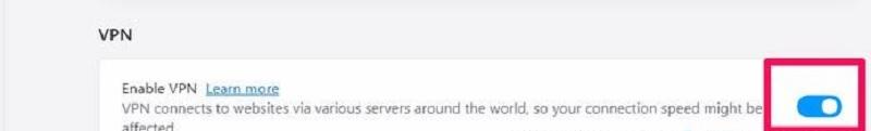 công tắc VPN trên trình duyệt opera